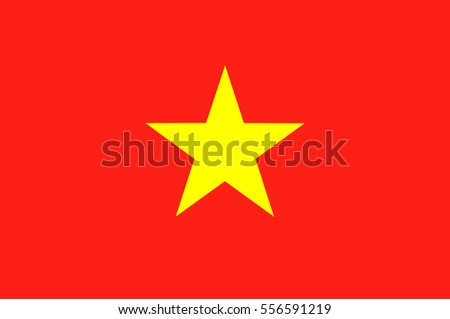 Flag of Vietnam officially the Socialist Republic of Vietnam. Vector illustration