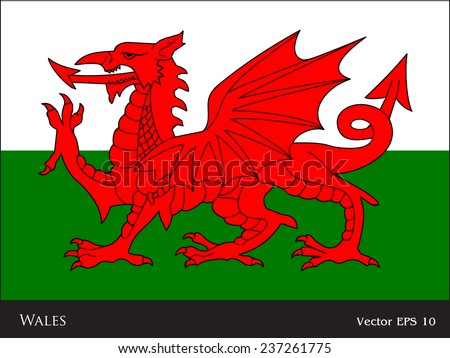 flag of wales   uk   red dragon