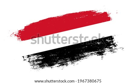 Flag of Yemen country on brush paint stroke trail view. Elegant texture of national country flag Stock fotó ©