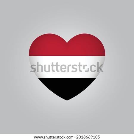 Flag of Yemen in heart. Yemen flag vector. Love Yemen symbol