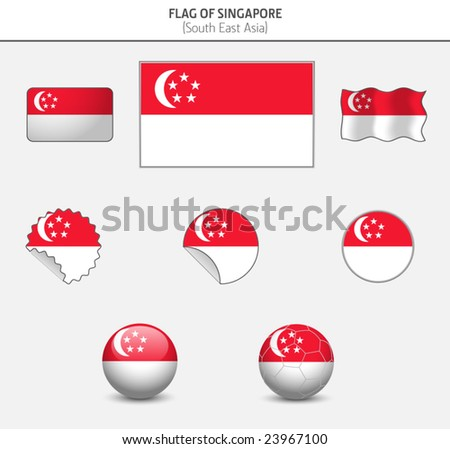 Flag OG SINGAPORE Stock Vector 23967100 : Shutterstock