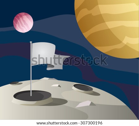 flag on the moon surface  space