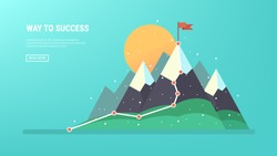 Flag on the mountain peak. Business concept, goal achievement, success, winning. Flat style, vector illustration.