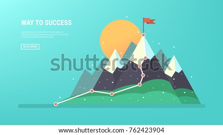 flag on the mountain peak