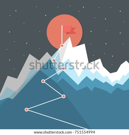 Flag on the mountain peak. Hiking trail. Business concept, goal achievement, success and winning. Flat style vector