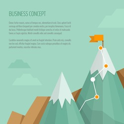 Flag on the mountain peak. Hiking trail. Business concept, goal achievement, success, winning. Flat style, vector illustration.