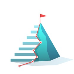 Flag on the mountain peak. staircase trail. goal achievement. success and win concept vector illustration