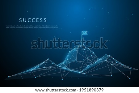 Flag on the top of Mountain form lines, triangles and particle style design. Illustration vector. Mountain climbing route to peak. Business journey path in progress to success vector concept. Foto stock ©
