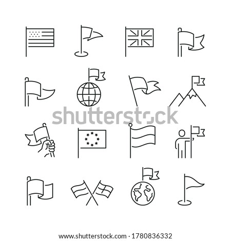 Flag related icons: thin vector icon set, black and white kit