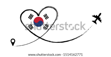 Flag South Korea Koreans Korean Love Romantic travel Airplane air plane Aircraft Aeroplane flying fly jet airline line vector fun funny pin location pointer route trace sign track vacation holliday