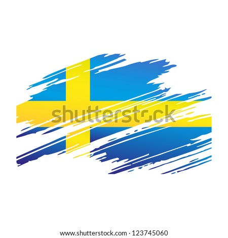 Flag Sweden in the form traces brush isolated vector - stock vector