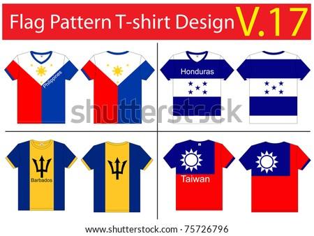 Flag T-shirt designs international. Vector template