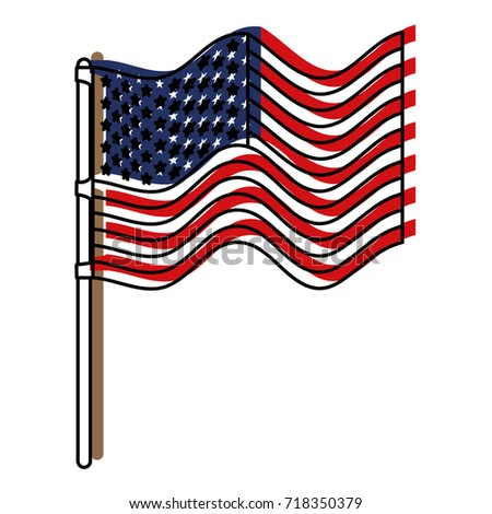 flag united states of america in flagpole waving and watercolor silhouette vector illustration