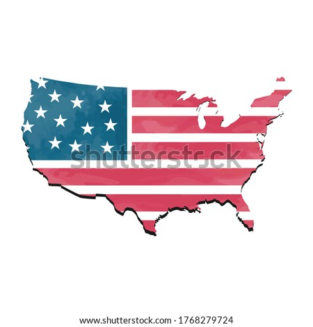 Flag United States , United States Flag, Watercolor United States Flag, Map united States
