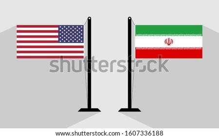 flag usa vs iran. vector background