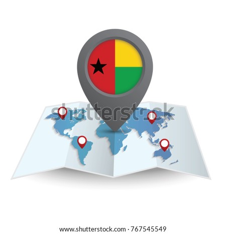 flag world map with pointer of