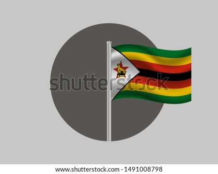 Flagpole inside circle with Flagpole inside circle with Beautiful national flag of African Zimbabwe, with emblem red star and eagle bird. original color and proportion. Simply vector illustration eps1