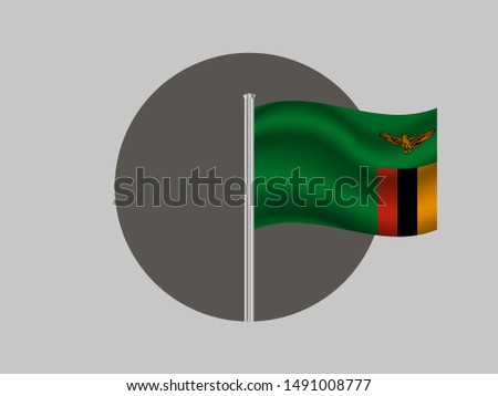 Flagpole inside circle with Flagpole inside circle with Beautiful national flag of Zambia. African Country. Simply vector illustration eps10. Original colors and proportion. from countries flag set.