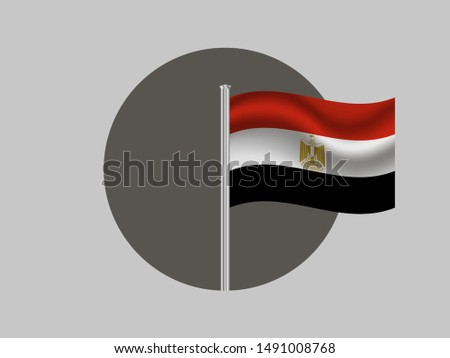 Flagpole inside circle with Flagpole inside circle with National flag of Arab Republic of Egypt. original colors and proportion. Simply vector illustration eps10, from countries flag set.