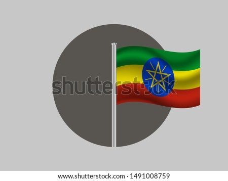 Flagpole inside circle with Flagpole inside circle with National flag of Federal Democratic Republic of Ethiopia. original colors and proportion. Simply vector illustration eps10, from countries flag