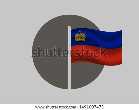 Flagpole inside circle with Flagpole inside circle with National flag of Principality of Liechtenstein. original colors and proportion. Simply vector illustration, from countries flag set.