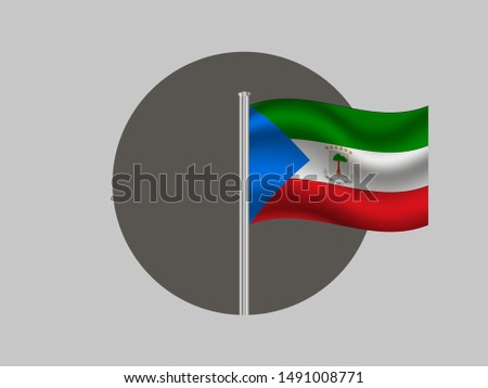 Flagpole inside circle with Flagpole inside circle with National flag of Republic of Equatorial Guinea. original colors and proportion. Simply vector illustration, from countries flag set.