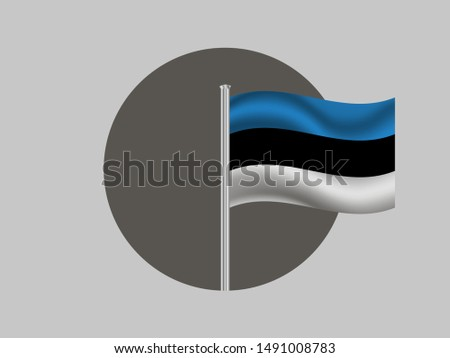 Flagpole inside circle with Flagpole inside circle with National flag of Republic of Estonia. original colors and proportion. Simply vector illustration, from countries flag set.