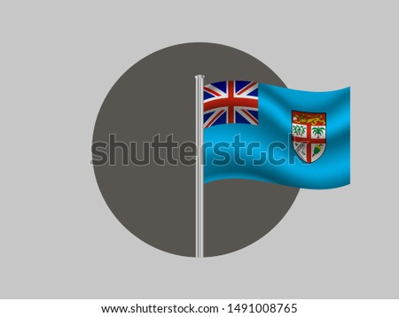 Flagpole inside circle with Flagpole inside circle with National flag of Republic of Fiji . original colors and proportion. Simply vector illustration, from countries flag set.