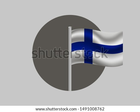 Flagpole inside circle with Flagpole inside circle with National flag of Republic of Finland. original colors and proportion. Simply vector illustration, from countries flag set.