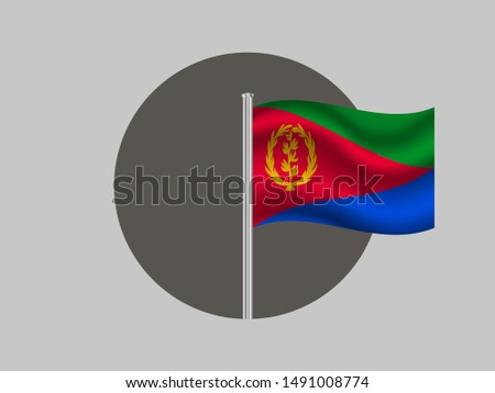 Flagpole inside circle with Flagpole inside circle with National flag of State of Eritrea. original colors and proportion. Simply vector illustration eps10, from countries flag set.