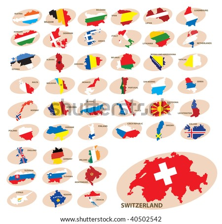 Flags and silhouettes of the countries. Europe. Vector illustration
