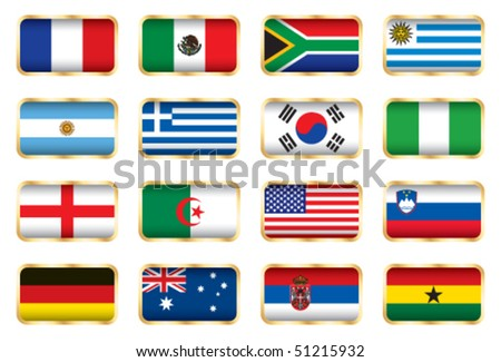 Flags. 16 Football World cup nations (groups A B C D).
