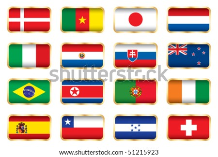 Flags. 16 Football World cup nations (groups E F G H).
