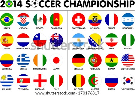 Flags for soccer championship 2014 Groups A to H 8 groups 32 nations 2d circle designs Carefully designed