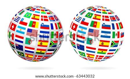 Flags Globe - stock vector