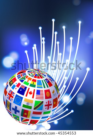 Flags Globe on Fiber Optic Background Original Vector Illustration