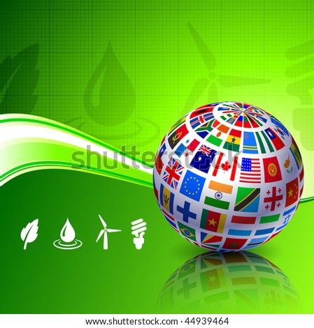 flags globe on green nature