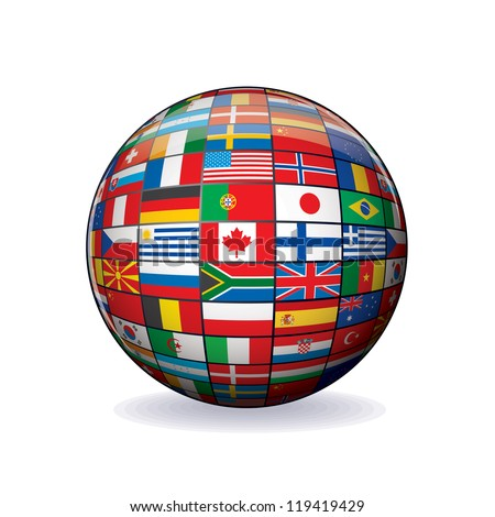 Flags Globe. Vector Sphere with Flags of the World. Object Isolated on white Background.