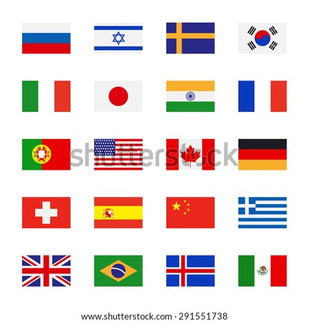 Flags icons in flat style. Simple vector flags of the countries