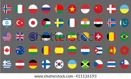flags icons simple round flags