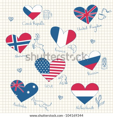 Flags in heart shapes and symbols of the countries