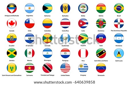 Flags of all countries of the American continents #640639858