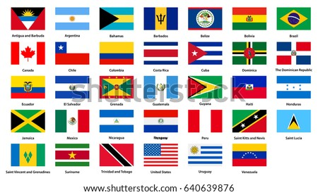 Flags of all countries of the American continents