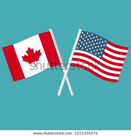 Flags of America and Canada vector icon. The flags of the USA and Canada are crossed and swaying. Illustration of country flags in flat style.