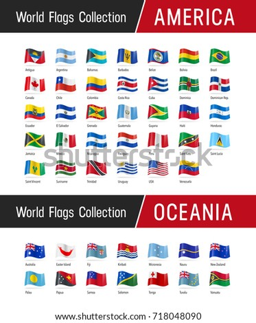 Flags of America and Oceania, waving in the wind - Vector world flags collection