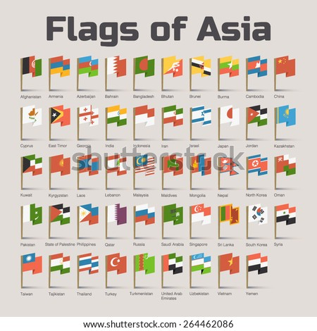 flags of asia vector flat