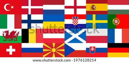 Flags of countries participating in the football championship in Europe 2020. Group stage final. 2020 European. Europe 2021. Sorted by group matches, collected in one banner. National flags. Vector Foto stock ©