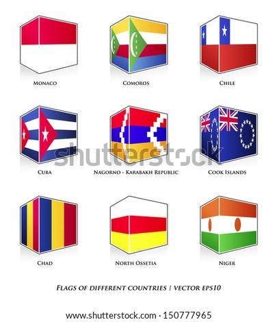Flags of different countries isolated on white. Vector set.  #150777965