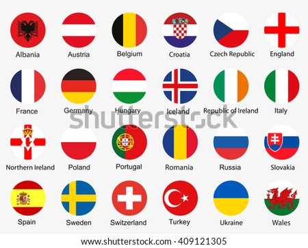 Flags of Euro 2016 football championship