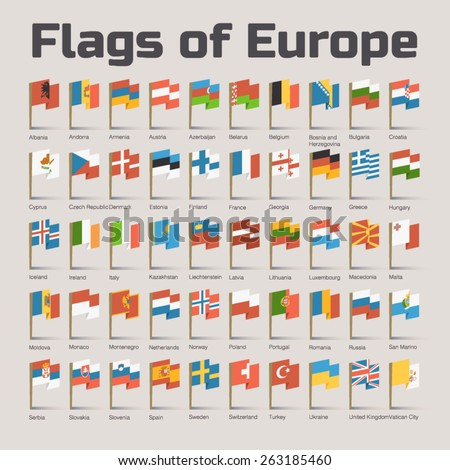 flags of europe vector flat